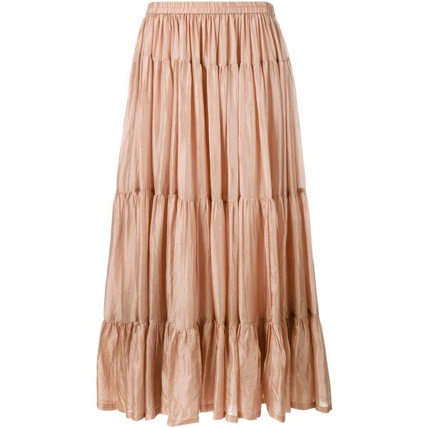 Mes Demoiselles Tabatha Silk Maxi Skirt (420 AUD) ❤ liked on Polyvore featuring skirts, tan, long silk skirt, silk maxi skirt, tiered maxi skirt, a line skirt and boho skirt
