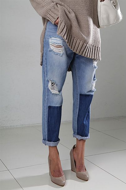 Patches Meets Bf Jeans - Loose tan sweatshirt x patched up boyfriend jeans x heels.