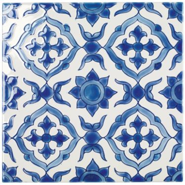 Almonte - Patterned & Decorated - Shop by colour - Wall & Floor Tiles | Fired Earth tiled wall back drop to V&A ios bath