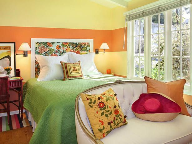 Add Life to Your Home With the Right Paint Color (http://blog.hgtv.com/design/2014/05/19/add-life-to-your-home-with-the-right-paint-color/?soc=pinterest): Guest Room, Orange Color, Bedroom Linens, Decorating Ideas, Colors, Master Bedroom, Bedroom Designs, Orange Bedrooms, Bedroom Ideas