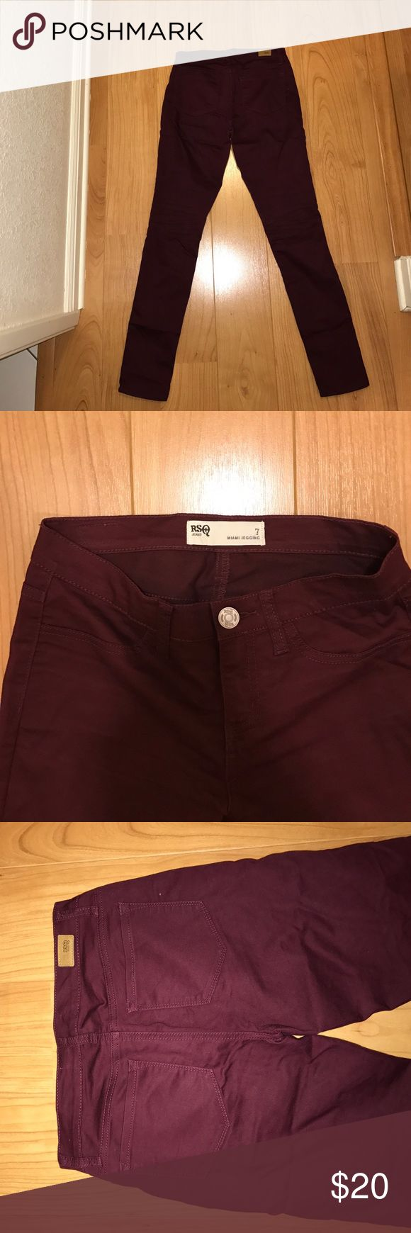 Burgundy RSQ jeggings RSQ Miami Women's Jeggings, great condition. Never worn only tried on once. RSQ Jeans Skinny