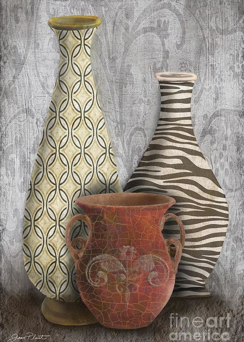 Animal Print Vase Still Life-C Greeting Card by Jean Plout