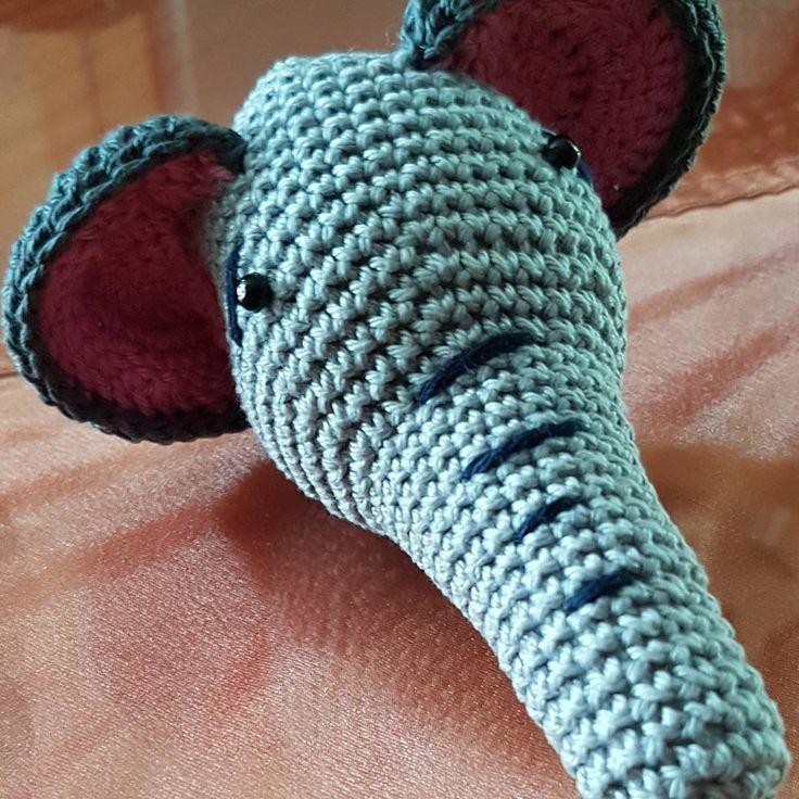 🐘 rattle like crochet elephant, need tusks? 🐘 háčkovaná hrkálka v tvare sloniej hlavy...