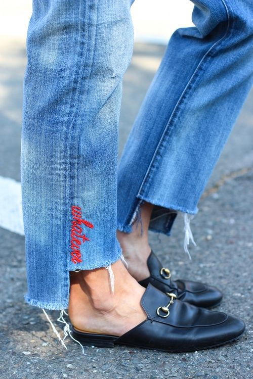 slip on loafers and embroidered denim
