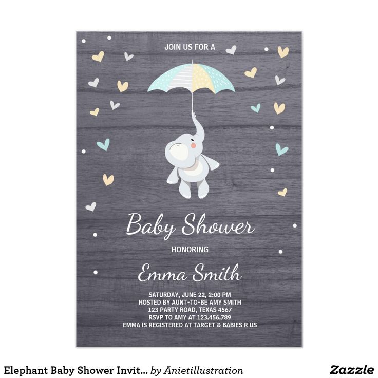 Elephant Baby Shower Invitation Boy Blue Jungle