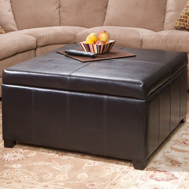 ottoman for living room%0A Berkeley Espresso Leather Storage Ottoman Coffee Table