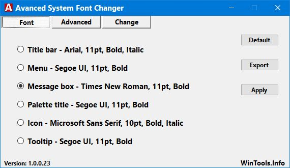 Advanced System Font Changer 1.0.0.28 With the Advanced System Font Changer, the system settings for text rendering in Windows OS can be changed. The software is designed to fill the gap created by Microsoft's decision to discontinue the option for setting the font sizes used by the system in Windows 10 Creator Update. #computers #software #freeware #opensource