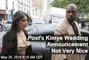 "Latest News:  Post's Kimye Wedding Announcement Not Very Nice.  It's safe to say the New York Post is not a fan of America's favorite newlyweds. The paper gave Kim Kardashian and Kanye West what Mashable calls the ""world's worst wedding announcement"" in its print edition.  Get all the latest news on your favorite celebs at www.CelebrityDazzle.com!"