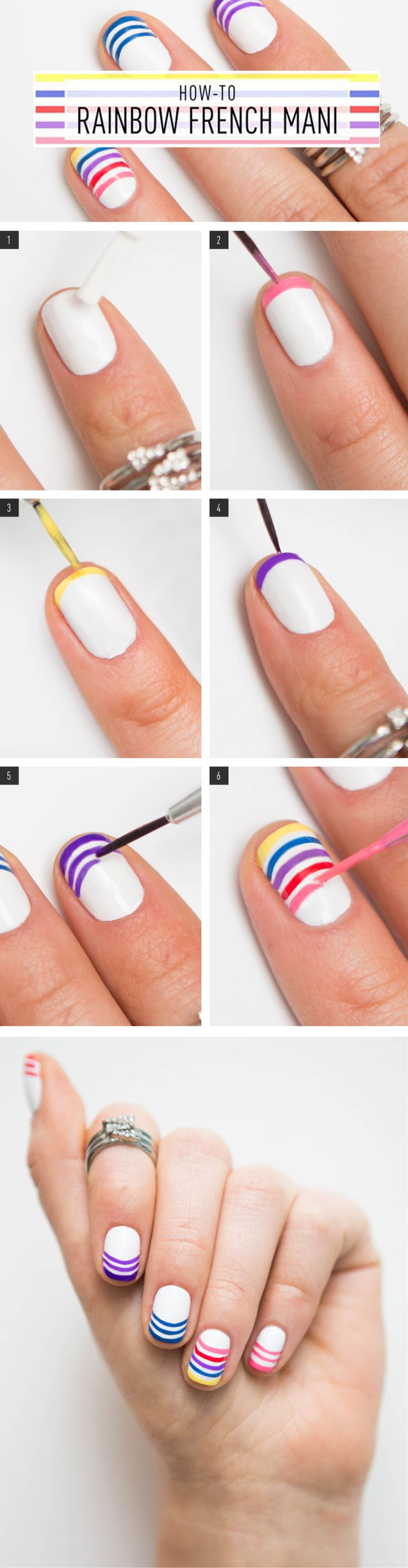 How to Do a Rainbow French Manicure With Yourself