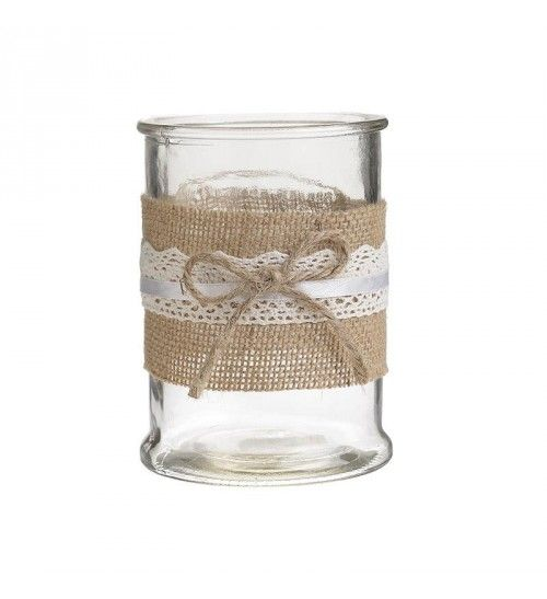 GLASS_FABRIC CANDLE HOLDER IN BROWN D9_5X13
