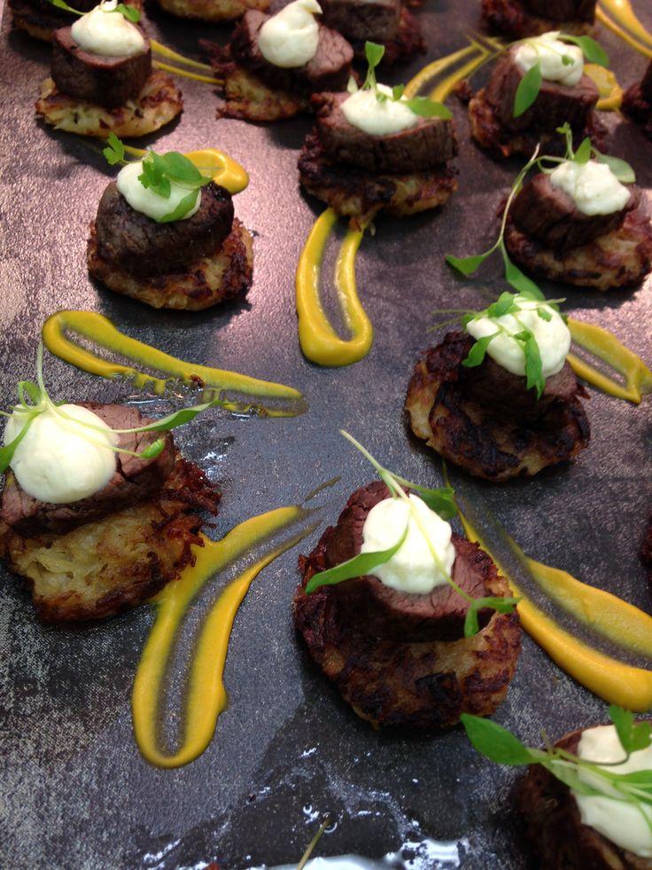 Rare roasted Wagyu beef fillet, potato rosti, horseradish crème, micro celery