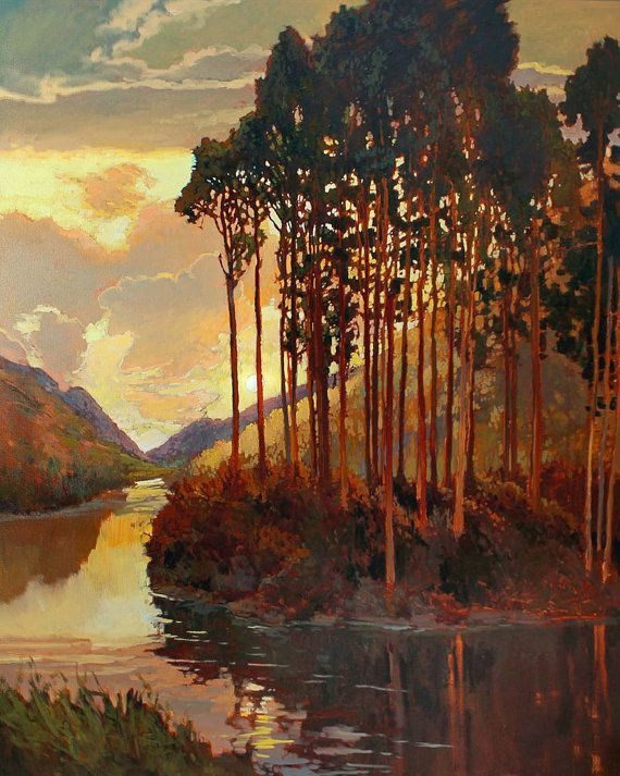 """""""Pines By The Lake"""" Sunset 11x14 by Jan Schmuckal"""