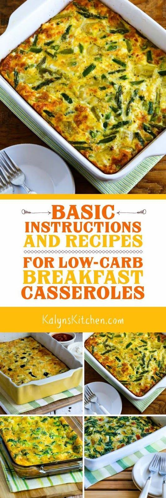 My blog has a lot of breakfast casserole recipes, but this post has the Basic Instructions and Recipes for Low-Carb Breakfast Casseroles, with amounts and cooking times for various sizes of casserole dishes. Once you have this information, you can turn leftover meats and/or veggies into a tasty breakfast casserole. All the recipes in the post are also gluten-free and South Beach Diet friendly. [found on KalynsKitchen.com]
