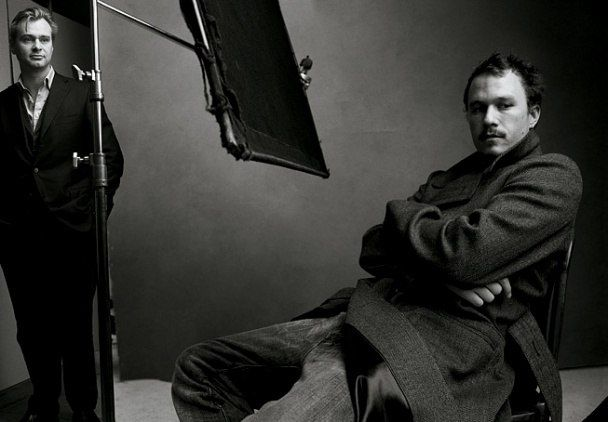 Christopher Nolan and Heath Ledger the director and a lead actor of The Dark Knight (2008) shot by Annie Lebowitz for Vanity Fair for the Hollywood Portfoilo 2009