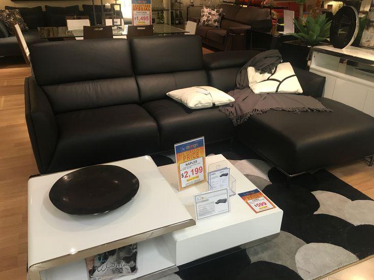 Oz Design - Neo Black Leather Sofa + Chaise