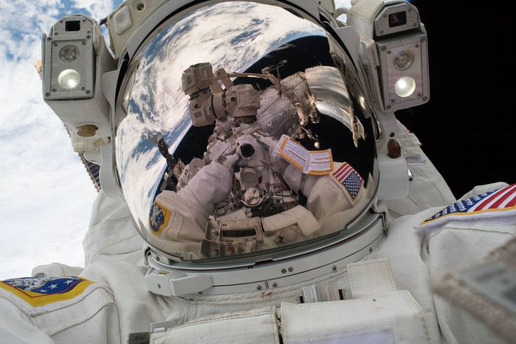 "On Tuesday, Jan. 23, 2018, Mark Vande Hei snapped his own portrait, better known as a ""space-selfie,"" during the first spacewalk of the year."