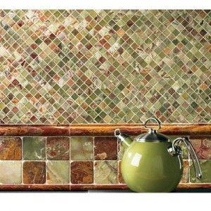 Green/brown backsplash. hmmmm: Kitchens, Mosaic Tile, Backsplash Ideas, Kitchen Backsplash, Green Onyx, Tile Backsplash, Kitchen Ideas, Polished Mosaic