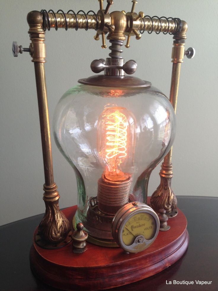 Handmade one of a kind steampunk lamp made from recycled wood and brass