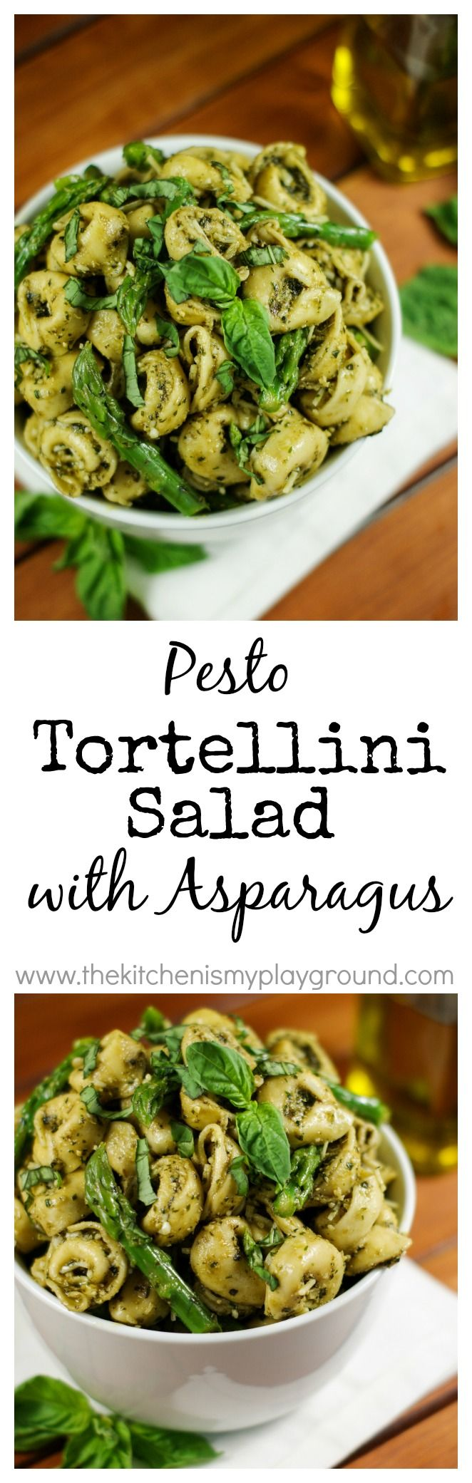 Pesto Tortellini Salad with Asparagus ~ a perfect Springtime pasta salad. www.thekitchenismyplayground.com