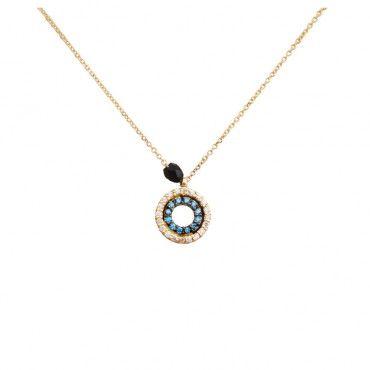 Ένα μοντέρνο κολιέ κύκλος από χρυσό Κ14 με σειρέ λευκά και γαλάζια ζιργκόν και ένα μαύρο όνυχα στα πλάγια | Κολιέ ΤΣΑΛΔΑΡΗΣ στο Χαλάνδρι #κύκλος #γαλάζιο #χρυσό #κολιέ