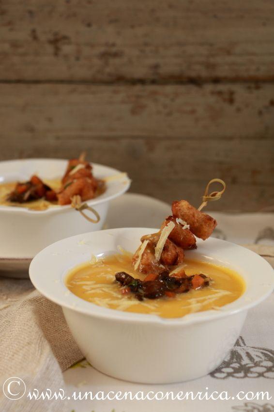 Crema di zucca con funghi secchi, gnocchi di miglio fritti e formaggio Oscypek | Una Cena con Enrica, imparando a cucinare con passione