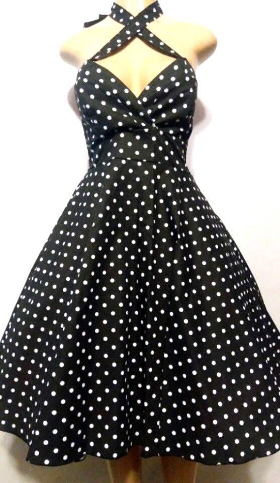 b15a07232afb Vintage polka dot dress 50 s style retro clothing