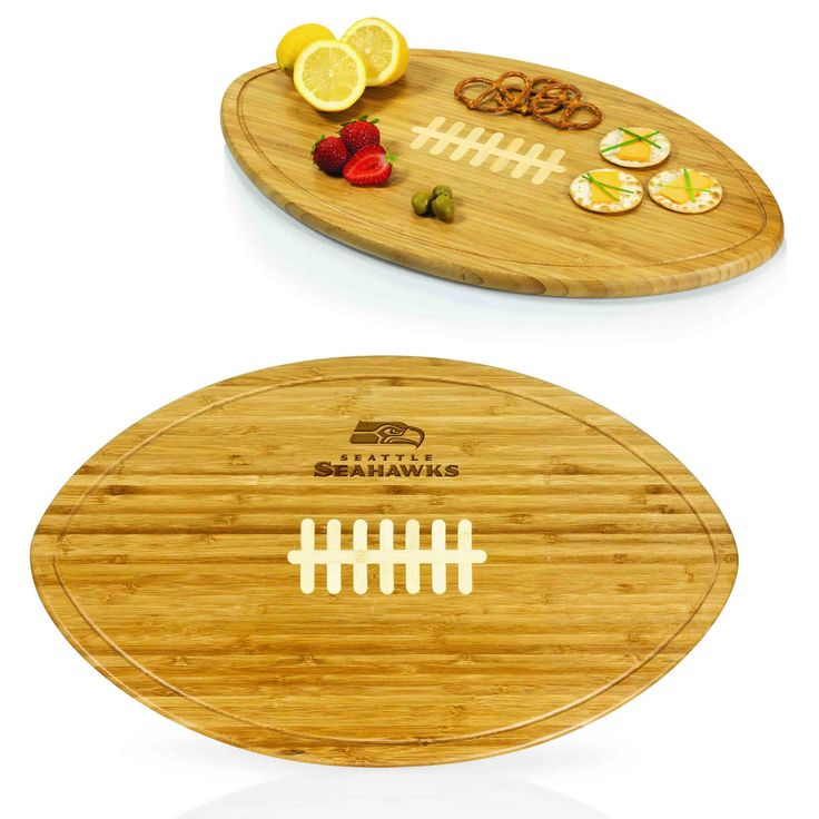 The Seattle Seahawks Kickoff is the party platter and serving tray made especially for avid NFL football fans. Its simple yet distinctive design features inlaid white bamboo to mimic the laces of a fo