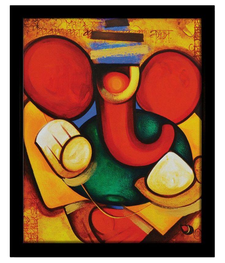 Yudezine Modern Art Ganesha Yellow Painting