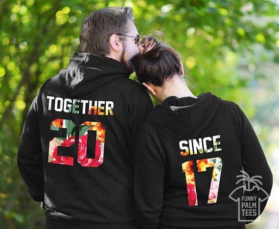 Couple Matching HOODIES  World Greatest Boyfriend Girlfriend TOGETHER SINCE DATE