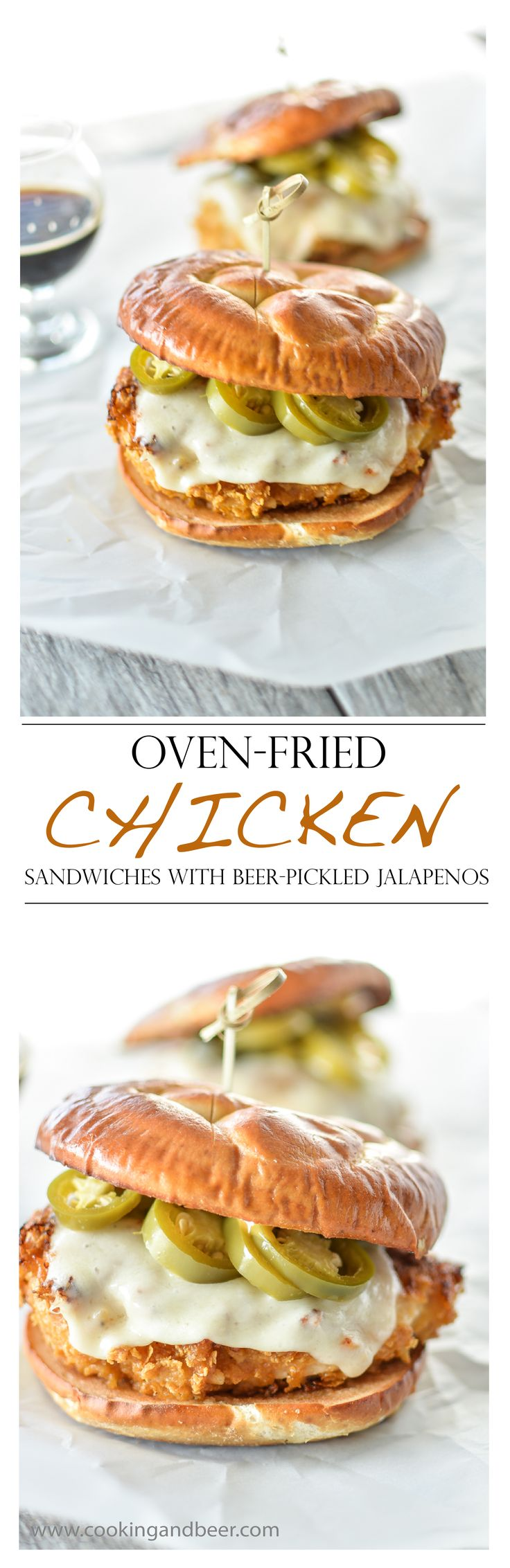 Oven-Fried Chicken Sandwiches with Beer-Pickled Jalapenos   www.cookingandbeer.com   @jalanesulia