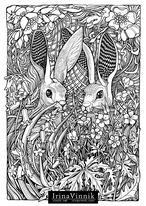 861 best coloring pages images on Pinterest Adult coloring pages - best of bunny rabbit coloring pages print