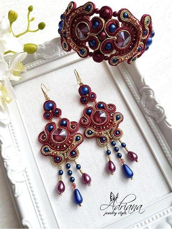 Burgundy cobalt soutache earrings