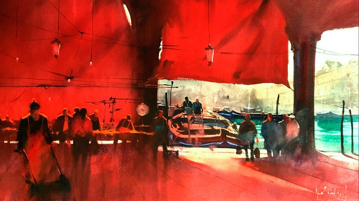 OBRA: Mercado del Puerto  Álvaro Castagnet  #alvarocastagnet #acuarela #watercolor #galeriadeartetrinotortosa #ventadearte www.trinotortosa.com