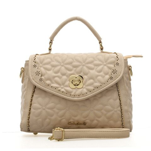 Sally Young Fashion Flower Embossed Hollow Out Detail Women Handbag Shoulder Bag - Beige £18.99