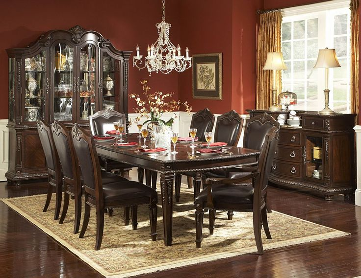 7 Pc Palace Collection Dark Brown Finish Wood With Rope Twist And Tobacco  Leaf Carvings Table