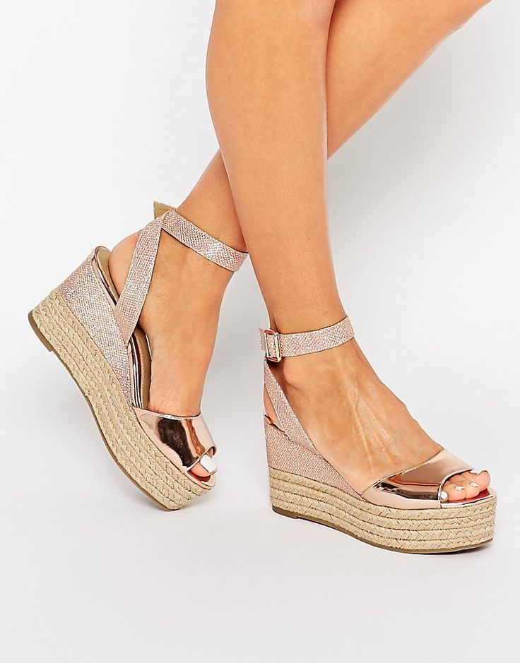 Image 1 of Head Over Heels By Dune Kalmia Rose Gold Wedge Espadrille Sandals