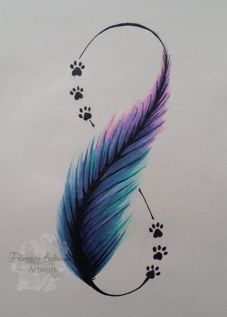 Pluma estilo acuarela  #feather #Watercolor #Doglovers #Infinito #pluma #huellas #Tattoodesign