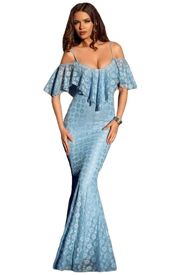 Купить товарVestidos де celebridades элегантный печати осень зима платье Бретельках Ruffled С Плеча Голубой Русалка DressLC61231 в категории Платьяна AliExpress.                                                                                                                   Solid