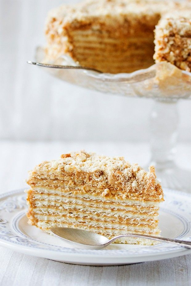 Russian Honey Cake - classic traditional cake. Thin honey leyers frosted with sweet dense custard. Check it now or save for later