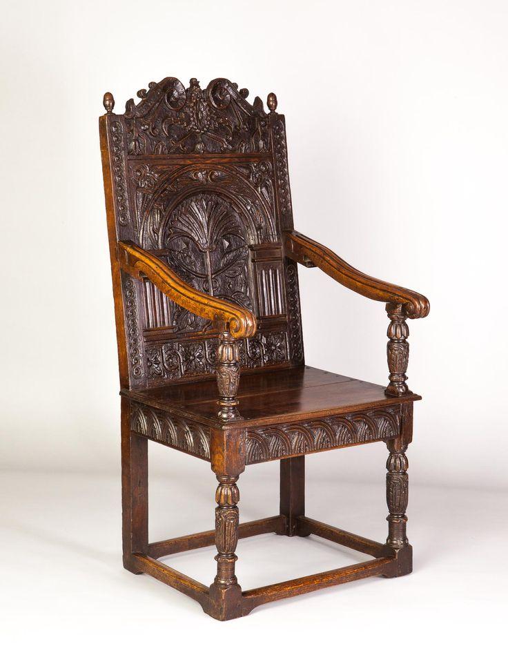 Elizabethan carved oak armchair, circa 1580. Marhamchurch antiques