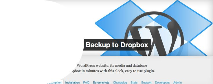 WordPress Backup to Dropbox is a plugin for WordPress that automatically uploads a backup of your entire website, including all files and its database, to Dropbox. It has been created to give you peace of mind that your website is backed up on a regular basis.  Just choose a day, time and how often you wish your backup to be performed and kick back and wait for your backup to be dropped in your Dropbox!