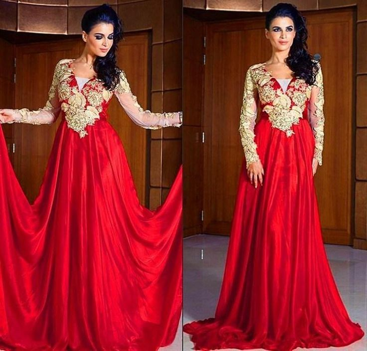 Find More Evening Dresses Information about 2015 Arabic Abaya In Dubai New Style Evening Dresses With Gold Applique V Neck Red Long Sleeve Dress vestido festa plus size,High Quality dress ceremony,China dresses in new york Suppliers, Cheap dress bohemian from ShangNi  High End Wedding Dresses on Aliexpress.com