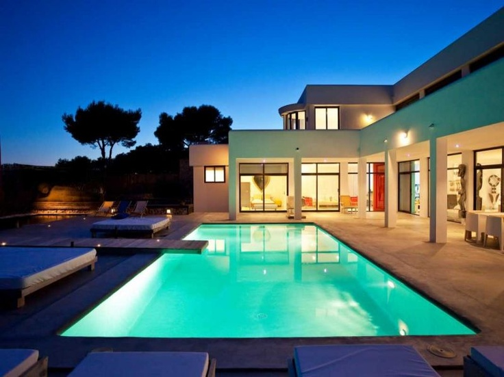 Luxury waterfront Ibiza mansion house, sea views. Exclusive Ibiza villas for sale on a private plot in best location. Contemporary, modern, houses.