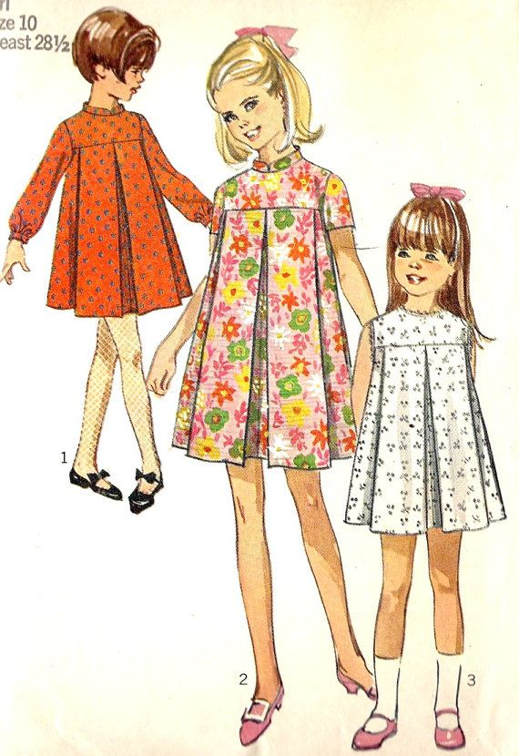 1960s Girls Tent  Dress Vintage Sewing Pattern,  Loosely fitting, high round neckline, Simplicity 7453 Size 10
