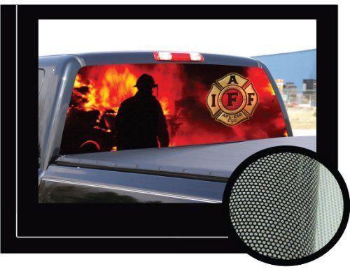 "FIREFIGHTER 2 22"" x 65"" -Rear Window Graphic fire man truck view thru vinyl.  Get yours at: http://rcm-na.amazon-adsystem.com/e/cm?lt1=_blank&bc1=000000&IS2=1&bg1=FFFFFF&fc1=000000&lc1=0000FF&t=howecahaital-20&o=1&p=8&l=as4&m=amazon&f=ifr&ref=ss_til&asins=B005NBRZLI"
