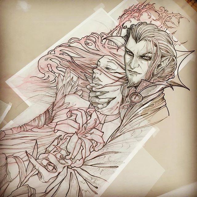 Dracula and Shinoa....the start of a very large project. #castlevania #dracula #shinoa