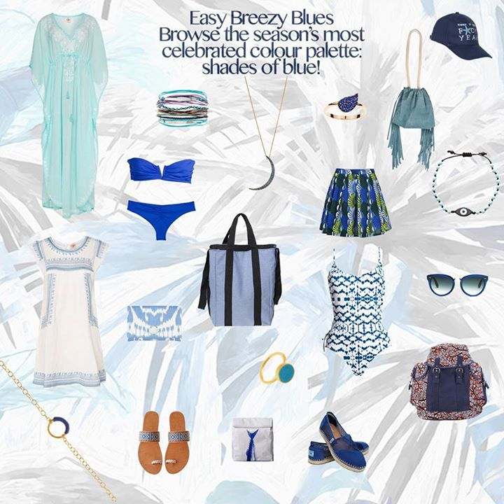 Shades of #BLUE! The season's coolest hue. Refresh your style and shop our summery looks, links below! #wecreateharmony  Shop the blue looks here, left to right, top to bottom ▷ Turquoise Caftan: http://bit.ly/1K9YYc1 Turquoise Multi-Bracelet Cuff: http://bit.ly/1MoTPOJ Half Moon Necklace: http://bit.ly/1IikoiC Teardrop Ring: http://bit.ly/1VEkvPJ Fringe Pouch Bag: http://bit.ly/1frgDQN Baseball Hat: http://bit.ly/1LAt9eN Royal Blue Bikini: http://bit.ly/1gRXlVK Pleated Printed Skirt…