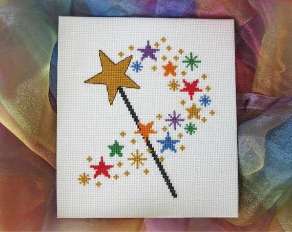 Cross stitch pattern of a magic wand producing a trail of stars. An easy, quick and magical stitch! This design is also available as a cross stitch kit here: https://www.etsy.com/uk/listing/534055065/ • Stitch count: 79 wide x 93 high • Approximate size on 14 count aida: 5.6in wide x 6.6in high (14.3cm wide x 16.9cm high) • 7 colours, DMC numbers given • Uses full cross stitches and backstitch; no fractional stitches • Stitch on fabric of your colour choice (mod...