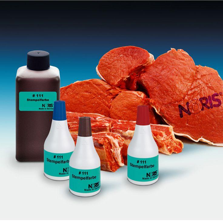 Stempelinkt voor op vlees. Speciaal voor slachterijen. Noris 111 inkt