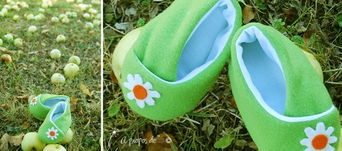 Petits pieds porte-bonheur Cute handmade baby shoes by Atelier Faggi Italy - Spring colors and daisy applique